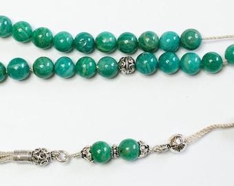 Russian Amazonite & Sterling Silver Greek Komboloi Worry Beads