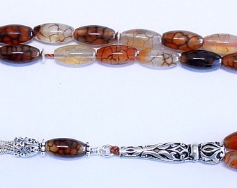 Prayer Beads Tesbih AA Dragon Vein Agate and Sterling Silver -Luxury Collector's item