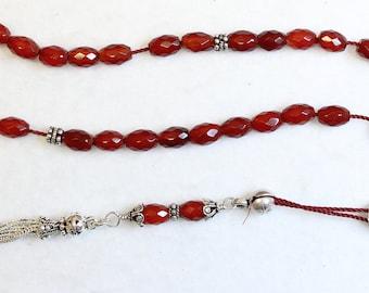 Greek Komboloi Faceted Carnelian & Sterling Silver Worry Beads