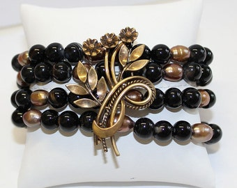 Unique Vintage Brooch Pin & Black Agate and Pearl Bracelets