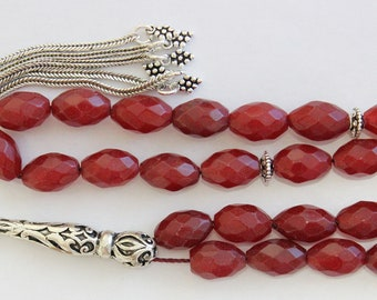 Luxury Prayer Worry Beads Tesbih Thai Oval Faceted Ruby & Sterling Silver - Collector's