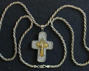Early 20th Cent. Russian Vermeil Pectoral Cross in Sterling and Zircon Frame with Sterling Chain, a Unique Jewel.