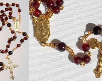 Catholic Chain Rosary Prayer Beads Chaplet Garnet and Gold