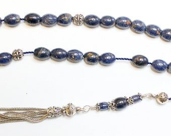 Greek Komboloi Genuine Ceylon Blue Sapphire & Sterling Silver Extreme rarity