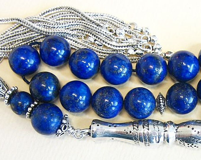 Featured listing image: Luxury Prayer Beads Tesbih AA Grade Lapis & Sterling Silver -Top quality - Collector's