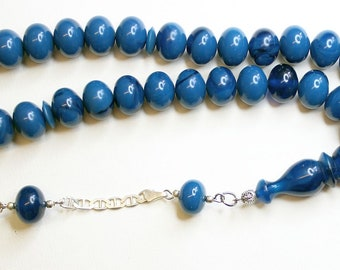 Prayer Beads Tesbih Marbled Blue Black Modern Catalin & Sterling Silver