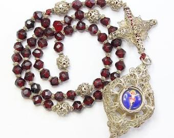 Exquisite 19th Century Bavarian Garnet & Filigree Catholic Rosary Complete w. Credo and Reliquary Porcelain Inlay Cross