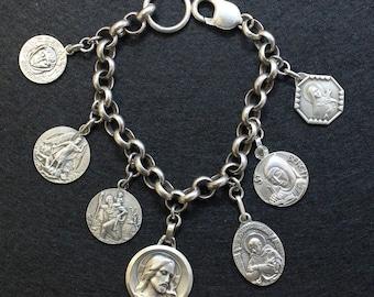 All Heavy Sterling Vintage Charm Bracelet w 7 Rare Medals Jesus & Saints