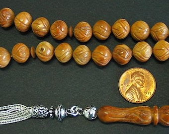 Prayer Worry Beads Tesbih Rosary : Kuka by Egyptian Master carver - with Sterling -  Collector's item