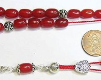 Greek Komboloi Worry Beads Red Rubilite And Sterling Silver