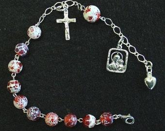 Catholic Rosary Bracelet Rosenkranz in Fire Crackled Agate an Sterling Silver