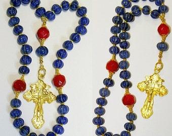 Beaded CHOTKI KOMBOSKINI : Genuine Ruby and Sapphire and Vermeil  - ORTHODOX Rosary