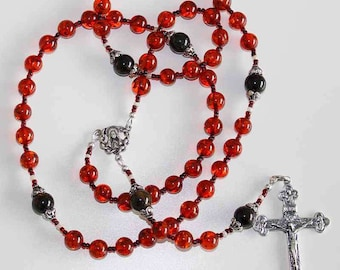 Important Catholic Rosary Prayer Beads Gebestkette Genuine Baltic Cognac Amber & Sterling Silver - Wearable