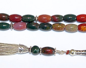 Luxury Prayer Beads Tesbih AA Grade Indian Bloodstone and Sterling Silver - Top Quality - Collector's