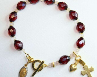 Catholic Rosary Bracelet Rare Diamond 1930's Cherry Bakelite & Vermeil- TESTED XXR