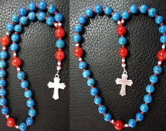 MINI Anglican Episcopal Rosary Prayer Beads Turquoise, Red Coral and Sterling Silver