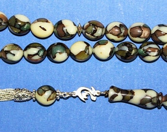 Prayer Worry Beads Tesbih Vintage Marbled Galalith and Sterling Silver - Rare Collector's Item