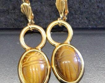 1950 Period VintageTIGER EYE Intaglio Scarab Gold  Earrings UNUSUAL