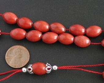 Greek Komboloi Worry Beads Red Marble and Sterling Silver