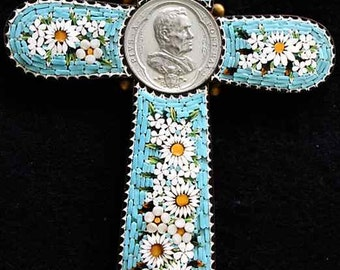 Antique Papal micro mosaic cross - crucifix PIUS X, Exceptional and Rare