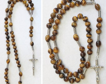 Catholic Rosary Prayer Beads Tiger Eye and Heavy Sterling Silver