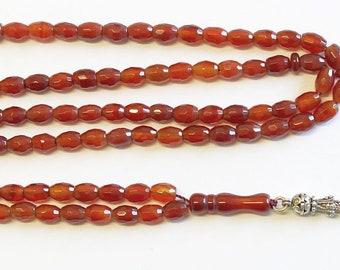 Islamic Prayer Beads Tesbih Gebetskette 99 Beads Faceted Carnelian & Sterling Silver