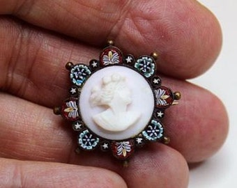 Early 20th Cent. Micro Mosaic brooch with Angel Skin Coral Cameo RRR