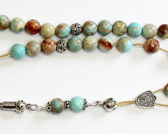 Greek Komboloi Worry Beads VARISCITE and Sterling Silver