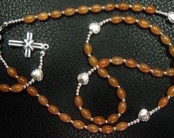Catholic Rosary Prayer Beads Red Aventurine & Sterling Silver