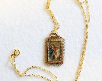 XIXth Century Madonna & Child Hand Painted Miniature in Vermeil Filigree Frame w chain
