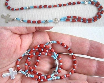 Mini Catholic Rosary Red Coral, Turquoise & Sterling Silver