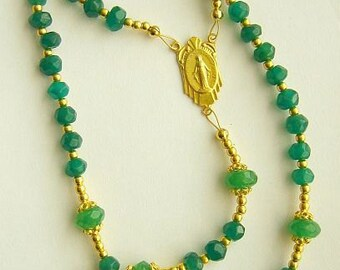 Catholic Rosary Genuine Faceted Emerald And Vermeil