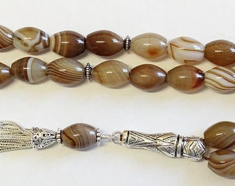 Luxury Prayer Beads Tesbih AA Botswana Agate & Sterling Silver - Top Quality - Collector's