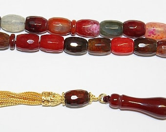 Luxury Prayer Beads Tesbih Faceted Multicolor Crackle Agate and Vermeil  -  Collector's item