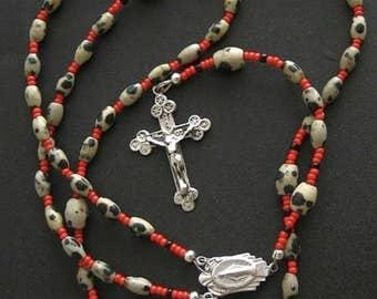 Catholic Rosary Gebetskette Dalmatian Jasper & Sterling Silver
