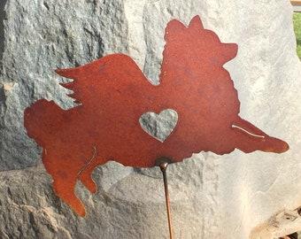 Rusty Finish Metal Pom Pomeranian Dog Angel Memorial Garden Art Yard Stake