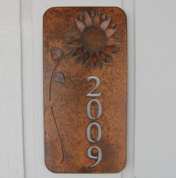 Rusty Finish Metal Wall Art Sunflower Address Plaque House ...