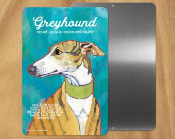 Greyhound metal sign,coworker gift,stocking stuffer,hostess gift,housewarming gift,thank you gift,in memory of,thinking of you,graduation
