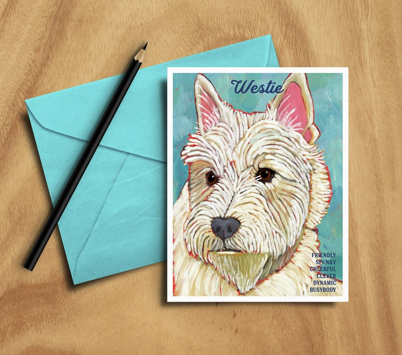 West Highland Terrier westie set of 6 blank note cards + envelopes,coworker  gift,hostess gift,housewarming gift,stocking stuffer,thank you