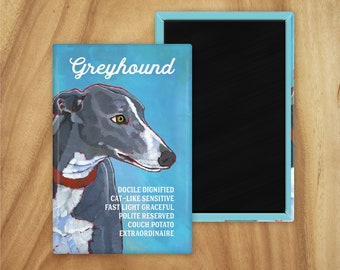 Greyhound magnet,coworker gift,stocking stuffer,hostess gift,housewarming gift,graduation gift,in memory of,thinking of you,thank you gift