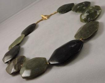 Black and Green Jasper RAINFOREST Necklace with Golden Details