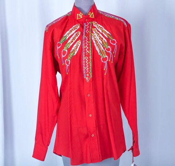 Small Ladies Red Tuxedo Painted Blouse