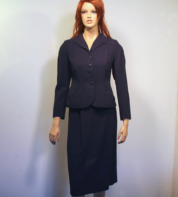 1940s Navy Blue Suit
