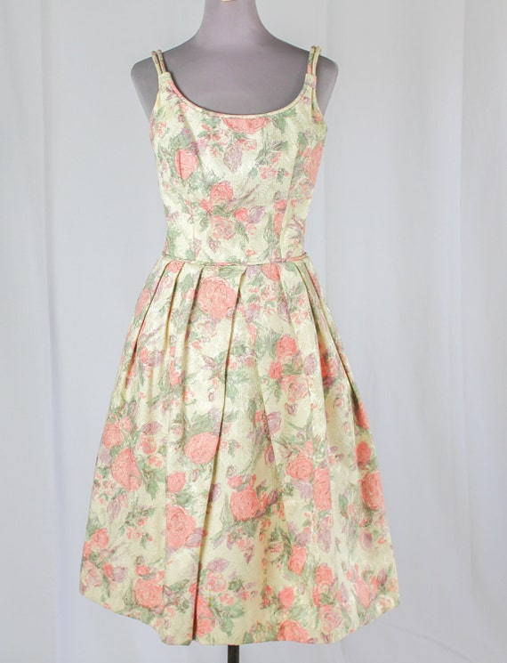 50s Cocktail Prom dress, Pink Floral