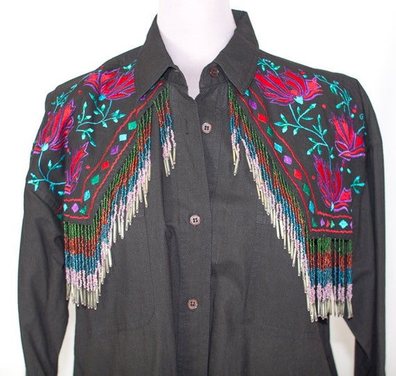 Ladies Embroidered with Beaded Fringe Western Blou