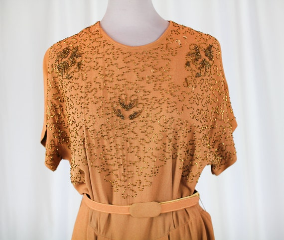 40s TAUPE Crepe BEADED DRESS