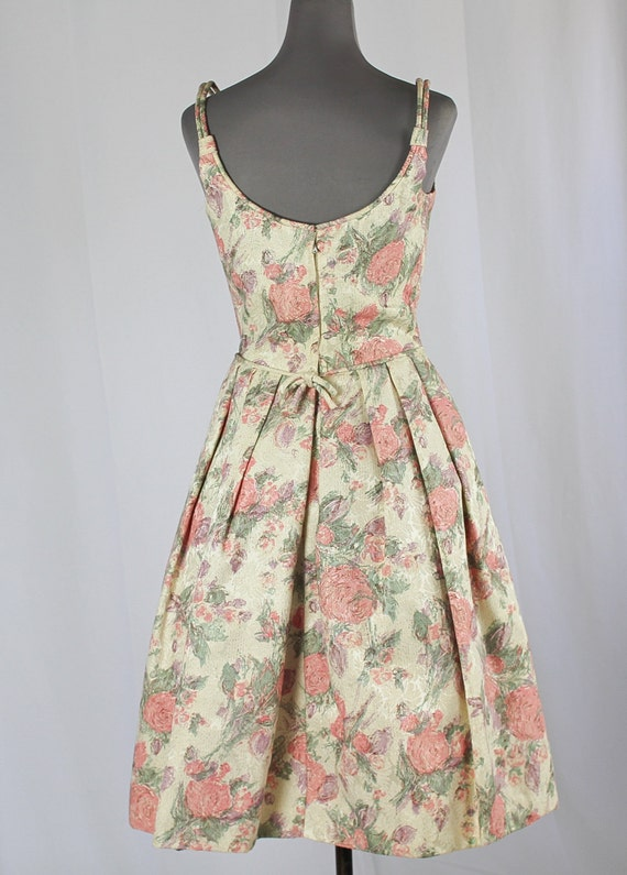 50s Cocktail Prom dress, Pink Floral - image 4