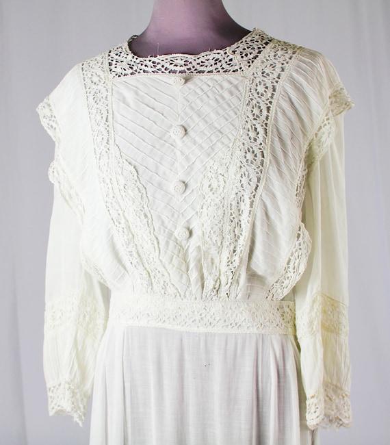 WHITE Linen EDWARDIAN Tea DRESS