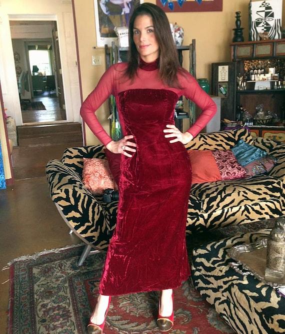 70s Red Crushed Velvet Maxi Dress