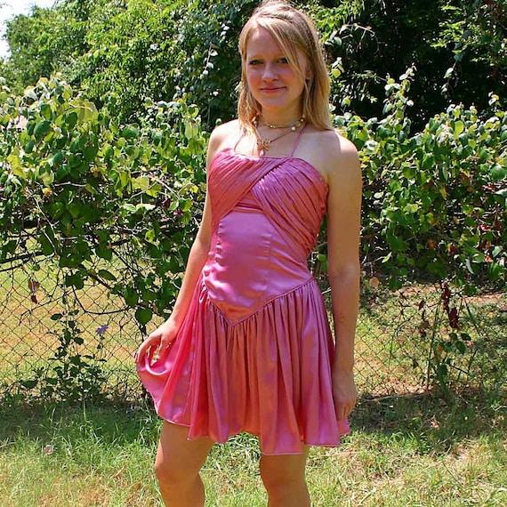 70s PINK SATIN COCKTAIL Dress
